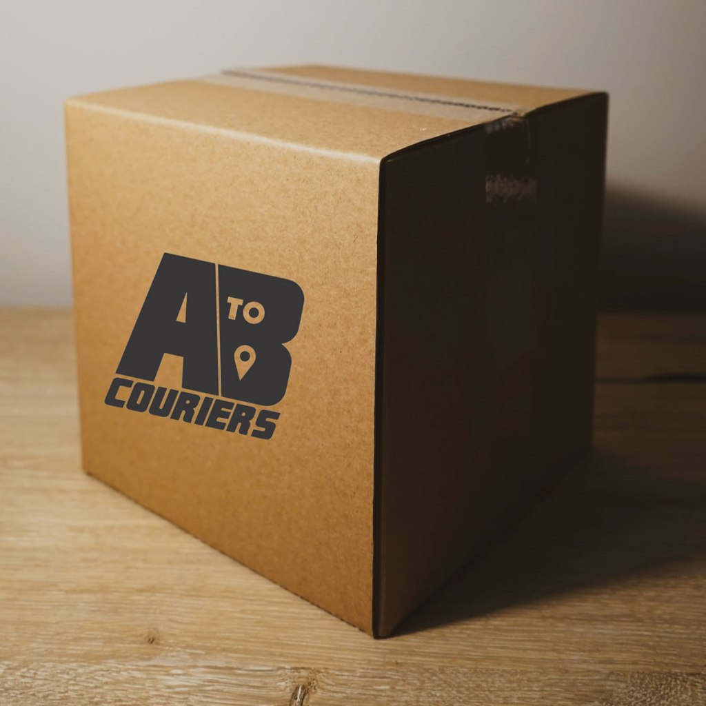 Branded A to B Couriers delivery box.